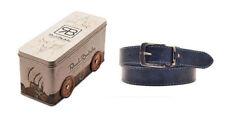 RENATO BALESTRA Cintura Cinta Uomo Pelle Blu 4 x 125 cm + Special Gift Box