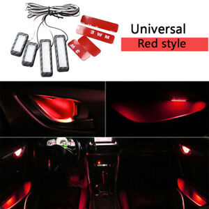 4pcs Car Door Bowl Handle LED Ambient Atmosphere Light Interior Lamp Red