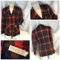 Pendleton Blazer Jacket Sz 12 Red Christmas Plaid Wool 3B USA Mint YGI J9-272