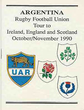 ARGENTINA 1990 RUGBY TOUR TO IRELAND ENGLAND & SCOTLAND PLAYERS ITINERARY