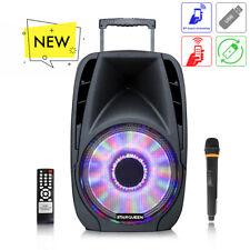 Portable Bluetooth Karaoke Speaker 12inch Wireless PA DJ Loud outdoor LED Remote
