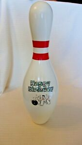 "Happy Birthday Bowling Pin Red Stripe AMF 15"" Tall Regulation Wood Pin"