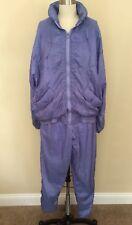Vintage Tracksuit SMALL Nylon Jogging Purple Blue Mom Clipper Bay 1980's 1990's