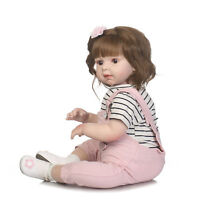 @Soft Silicone Viny Newborn Toddler Reborn Girl Doll One Year Old Bebe Doll 28''