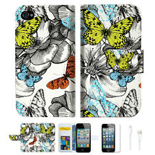 Butterfly Garden Wallet Case Cover For Apple iPhone 4 4S -- A018