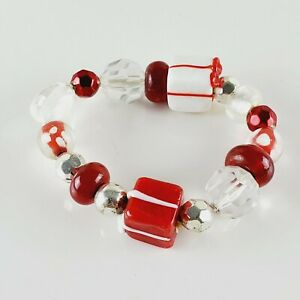 Glass Bead Christmas Bracelet Red and White Art Lampwork Stretch