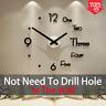 Large Wall Clock Modern Design 3D Wall Sticker Clock Silent Home Decor Quartz