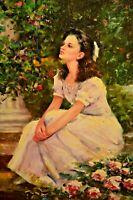 CHARLES Rose Garden Botanical Landscape Lady Portrait Illustration Oil Painting