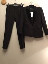 ZARA Black Co Ord Suit Tuxedo Style Blazer And Trousers With Velvet Size XS/S