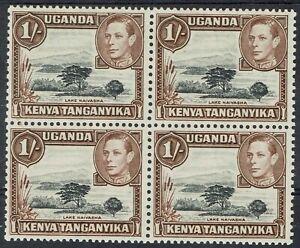 KENYA UGANDA & TANGANYIKA 1938 KGVI LAKE NAIVASHA 1/- MNH ** BLOCK PERF 13 X 11.