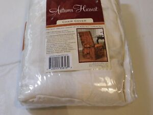 Autumn Harvest Ivory Brownstone Dining Armless CHAIR COVER Embossed design NOS