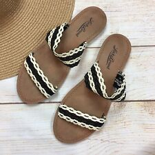 Lucky Brand Flat Braided Double Strap Slide Sandals Black/White Womens 6.5 M