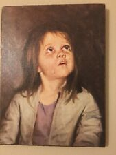 Vintage Crying Boy, Print on Wooden board, 70's Kitsch Wall Art, Good Condition