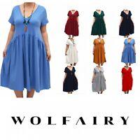 Wolfairy Plus Size Summer Dress V-neck Swing Midi Lagenlook Skater Jersey Boho