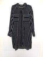 Decjuba Shirt Dress Button Through Pockets Long Sleeve Collar Black White Size L