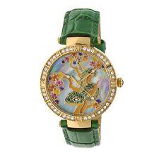 Bertha Mia Women's MOP Crystal Snake Green Leather Gold Watch BR7403