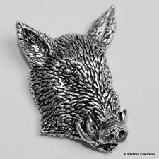 Wild Boar Face Pewter Pin Brooch - British Hand Crafted - Pig Hunting Farming