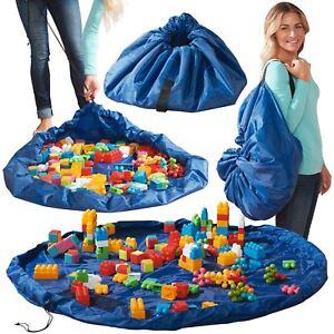 Kids Drawstring Play Mat Toy Storage Bag 150cm Lego Tidy Organiser Net Pockets