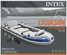Intex Excursion 5 5-Person Inflatable Boat Set, Oars & Pump, New