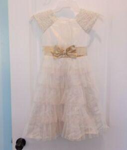 Jona Michelle Girls Dress Size 10 Cream And Gold Tulle Dress