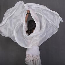 Plain White 3yd*45'' Belly Dance Silk Veil 5mm Light Paj Silk Gold Edges