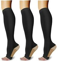 New COPPER Compression Socks OPEN TOE Knee High  Support Stockings (2 pair)