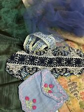 Vintage Destach Fabric Trim Remnants Blue Green