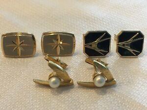 3 PR Vtg 60s Cufflinks Mid Century Modern Era Faux Pearl Goldtone Black Pat #