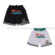 Movie Flint Tropics Jackie Moon #33 Basketball Shorts Stitched White Black S-2XL