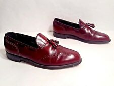 Vtg 1970s Florsheim Imperial Black Cherry Leather Wingtip Loafers Tassels 10.5 C