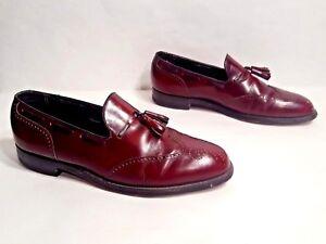 Vtg 1970s Florsheim Imperial Black Cherry Leather Wingtip Loafers Tassels 10.5 C
