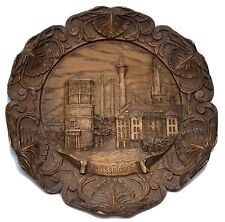 Wood Look Resin 3-D Carved Souvenir Wall Plate Dusseldorf Germany Signed Number