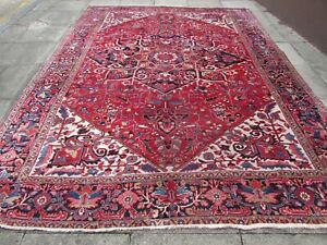 Antique Traditional Hand Made Vintage Oriental Wool Red Blue Carpet 380x277cm