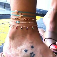 Starfish Shell Eye Colorful Ankle Bracelet 5pcs/set 2019 Summer Rope Gold Chain