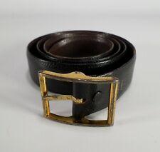 Vintage Reversible Leather Belt Pebbled Black Brown 34 36