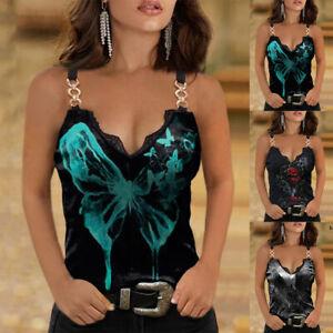 Womens Flower Print Vest Sleeveless Tank Top Ladies Sexy Camisole T-shirt Cami