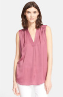 * NWT Vince Shirred Shoulder Top, Size Medium - Pink Teaberry $295