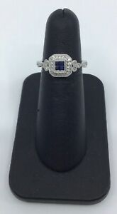 Gabriel & Co 14K White Gold Sapphire and 0.18 Ct Diamond Halo Ring