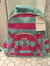 New Pottery Barn Kids Large Fairfax Pink & Aqua Stripes Sailor Kitty Backpack*
