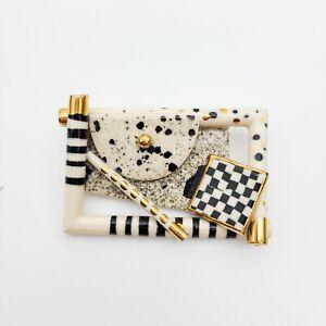 Vintage artisan handmade J10 brooch pin black white illusion boho post modern