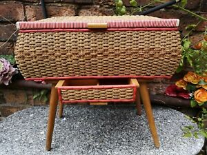 Vintage plastic woven sewing box on legs