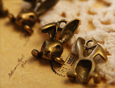 12x Metall Anhänger Charm Hase bronze 8x12mm mb1350
