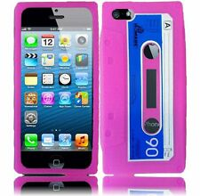 Apple iPhone 5 5S SE Rubber SILICONE Soft Gel Skin Case Cover Baby Pink Cassette