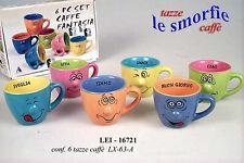 Confezione 6 tazze da caffè colorate decoro con smorfia e messaggio