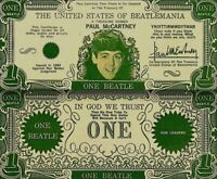 Beatles 1964 Vintage Money Paul McCartney One Beatles Dollar Bill NM COA