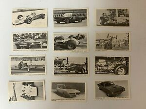 Lot of 12 Vintage Drag Racing cards Racing Graphis  1960s 70s black white