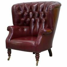 RRP £7000 OXBLOOD LEATHER BAKER FURNITURE CHESTERFIELD PORTERS BARREL ARMCHAIR