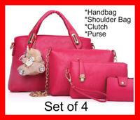 4PCS Women Handbag Set Shoulder Bag Clutch Purse Ladies Fashion Bags Handbags