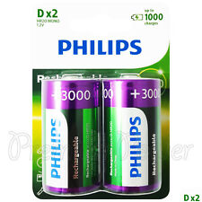 2 x Philips Rechargeable D Size batteries 3000mAh 1.2V Ni-MH HR20 MONO Pack of 2