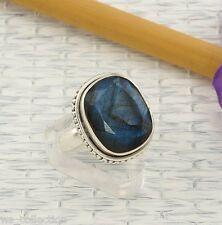 Labradorit Ring Sterlingsilber/925 Facettiert Blau Unisex Grösse 55(17,5mmØ) NEU